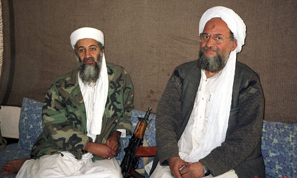 Osama bin Laden sits with his adviser and purported successor Ayman al-Zawahri during an interview in Afghanistan
